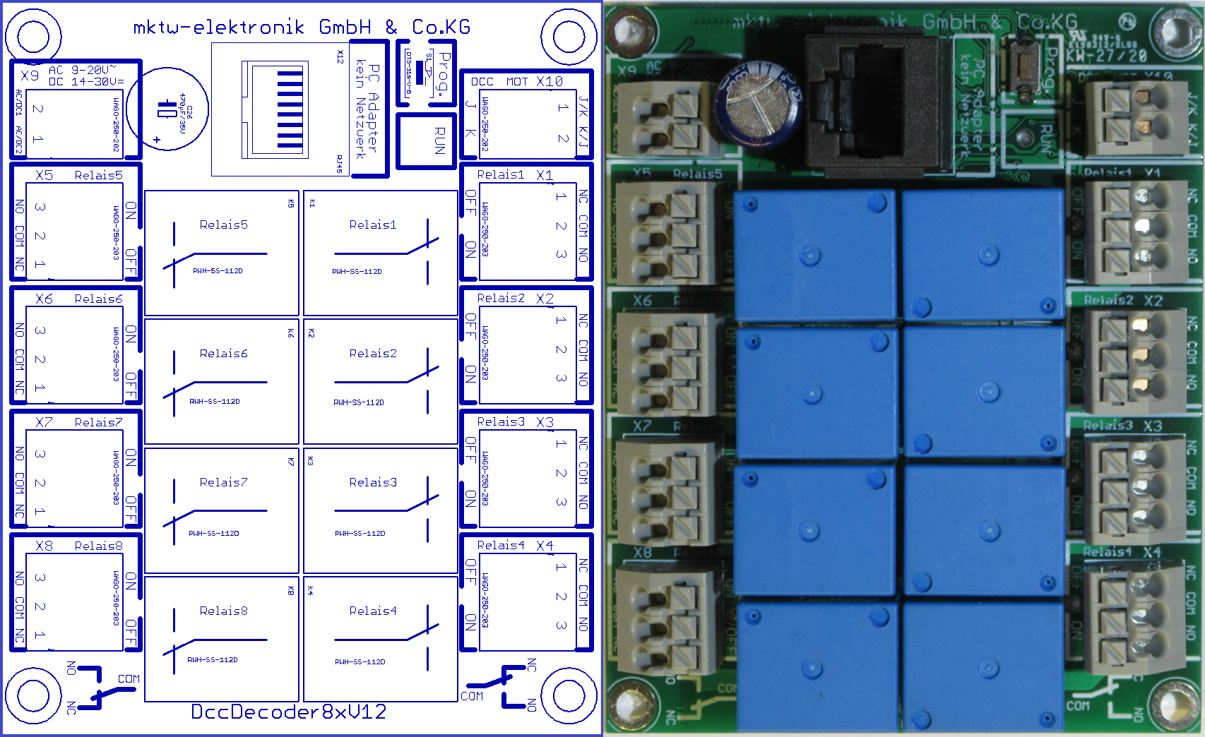 DccDecoder8x – Schaltdecoder